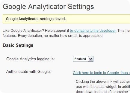 Google Analytics logging is