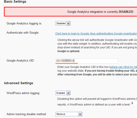 Google Analytics UID